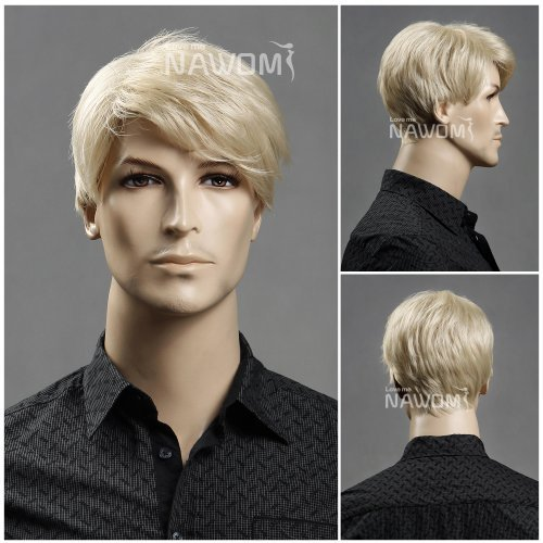 (WG-ZL11-22)Short Straight Men Wig,Golden Blonde color. by Roxy Display