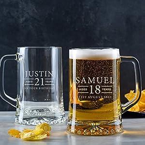 Bierkrug mit Gravur, 18 Geburtstag Junge Geschenkidee, Craft Beer, 50 Geburtstag Mann, Valentinstag Geschenk für Männer