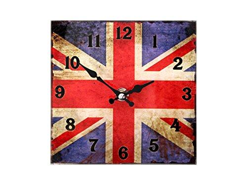 Tischuhr Vintage UK Union Jack Flagge 79/3090 Retro Uhr Glas 15 cm Dekouhr von Alsino -