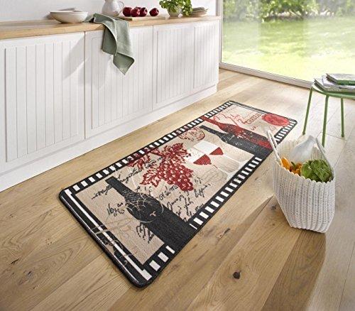 HANSE Home 102623 Teppichläufer, Polyamid, schwarz/beige / rot, 67 x 180 x 0.8 cm (Getuftet Boden-teppich)
