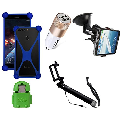 Casotec 5 in 1 Combo offer Car Mount Holder / Mobile Cover / Selfie Stick Monopod / Car Charger / OTG for Samsung Galaxy Grand 2