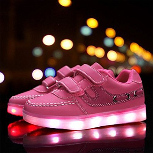 [Présents:petite serviette]JUNGLEST® 7 Couleur Mode Unisexe Homme Femme USB Charge LED Lumière Lumineux Clignotants Chaussures de ma c30