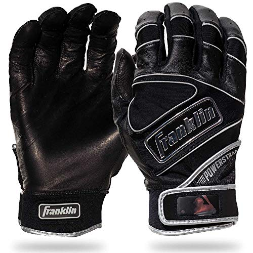 Franklin Sports MLB Chrome Powerstrap Schlaghandschuhe, Franklin Sports Chrome PowerstrapTM Batting Gloves - Black - Adult Medium, schwarz, Erwachsene Medium