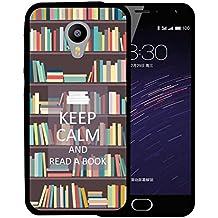 Funda Meizu m2 mini, WoowCase [ Meizu m2 mini ] Funda Silicona Gel Flexible Keep Calm and Read a Book, Carcasa Case TPU Silicona - Negro