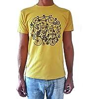 Camiseta de hombre Bicicletas - Color Amarillo Heather - Talla L - Regalo para hombre - Cumpleanos o San Valentin