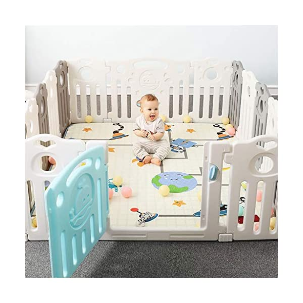 Baby Playpen HUYP Large Plastic Pet Fence Grey Baby Fence Safety Boy Girl (Size : 22 small pieces) Baby Playpen  5
