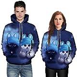 Paar 3D schöne Katze Print Langarm Bluse Shirts Sweatshirt, JiaMeng Hoodies Pullover mit Kapuze Mantel mit Kapuze Pullover
