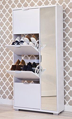 Intradisa - Zapatero 4 puertas abatibles en horizontal + 1 puerta espejo abatible en vertical - Acabado blanco