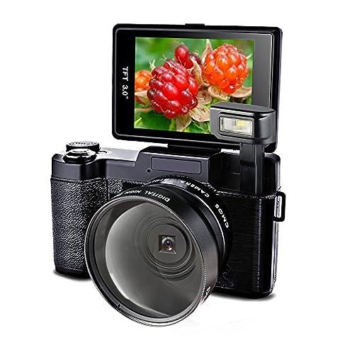 Videokamera Camcorder Full HD 24.0MP Kamera 1080p Digitalkamera 3 Zoll Screen mit Taschenlampe 52MM Weitwinkel Close Up Linse
