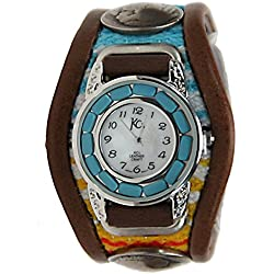 Kc,s Leather Craft Watch Bracelet Turquoise Movemnet 3 Concho Inlay Multi Sarape Color Dark Brown