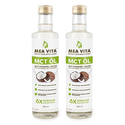 Liter 1 Kokosnuss-öl (MeaVita MCT Öl, 100% reine Premium Qualität, 1 Liter Extrakt aus der Kokosnuss, Geschmacksneutral (2x 500ml) Low Carb)