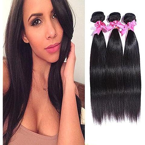 Meydlee Extensiones de Cabello Negro Natural Peruana 8-30 pulgadas cabello virgen 3pcs Mix longitud recta tejidos/extensiones del pelo humano , 22 24 26