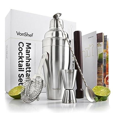 VonShef Luxury Manhattan Cocktail Shaker Set Stainless Steel in a Gift Box with Recipe Guide, 550ml Shaker, Twisted Bar Spoon, Hawthorne Strainer, 25ml/50ml Measuring Jigger & Wooden Muddler