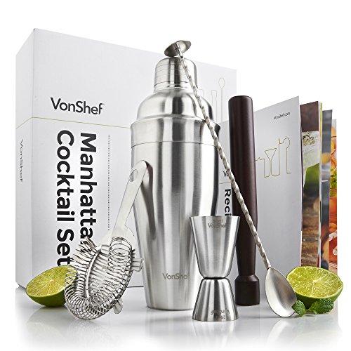 VonShef Edelstahl Manhattan Cocktail Set mit gedrehtem Barlöffel, Hawthorne-Sieb, 25ml/ 50ml Messbecher, Holz-Stößel, 550ml Shaker & Rezeptbuch, Zwei Jahre KOSTENLOSE Gewährleistung