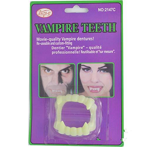 (Vampir Fangs - Glow In The Dark Transparente Dracula Zähne, umweltfreundliche Klammern, leuchtende klare Vampir Fangs. (Grün Weiß) (Color : White))