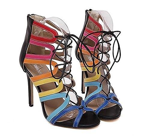 Gladiateur Cool Boots Ultra-High-Heeled Stylet Des sandales Dame Sexy Creux Cordons Cross Strap Peep Toe Fermeture éclair Des sandales Chaussures de fête Chaussures romaines Chaussures habillées Eu Ta , black , 36