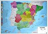 Close Up Póster Mapa Físico Político de España (91,5cm x 61cm) + Embalaje para Regalo