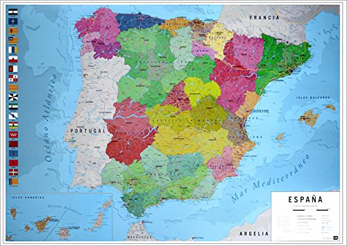 Close Up Póster Mapa Físico Político España 91,5cm