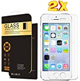 Spy Gadget® ( 2 - Pack) iPhone 5/5s Tempered Glass Screen Protector,iPhone 5/5s Screen Protector, Tempered Glass,9H Hardness,Curved Edge,Bubble Free,Anti-Scratch,Fingerprint&Oil Stain Coating,Retail Package Exclusive from Spy Gadget®