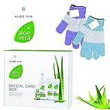 LR ALOE VIA Aloe Vera Spezial-Pflege Box plus gratis Waschhandschuh (Gelkonzentrat, Propolis-Creme, Notfallspray)
