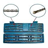 11 tlg. Bohrer Set SDS Plus mit Koffer doppelter Wendel+Kreuz Quadro Beton Bohrer