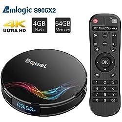 Bqeel Android 9.0 TV Box Bluetooth 4.0 【4GB+64GB】 Amlogic S905X2 Box TV Y4 Max WiFi 2.4G/5.8G 100Mbps LAN Boîtier TV 4K H.265 USB 3.0 Smart TV Box