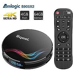 Bqeel Android 9.0 TV Box Smart TV Box【4G+64G】 Y4 MAX mit S905X2 Quad-core ARM Cortex-A53 unterstützt 4K HD/ WiFi 2.4GHz/ 5.8GHz / H.265/ Bluetooth 4.0/ USB3.0 TV Box