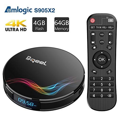 Bqeel Android TV Box Y4 MAX 【4G+64G】 smart TV Box mit S905X2 Quad-core ARM Cortex-A53 unterstützt 4K HD/ WiFi 2.4GHz/ 5.8GHz / HDMI2.1/ H.265/ Bluetooth 4.0/ USB3.0 Android 8.1 TV Box