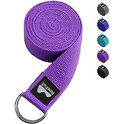 REEHUT - Con hebilla de metal D, 100% algodón resistente para ejercicios de estiramiento (morado, 2.4 m)