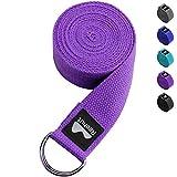 REEHUT Correa para Yoga (1.8m, 2.4m, 3m) - Cinturón con Hebilla Metal D-Anillos de 100% Algodón Resistente para Ejercicios de Estiramiento, Fitness, Pilates y Flexibilidad(Morado,1.8m,6ft)