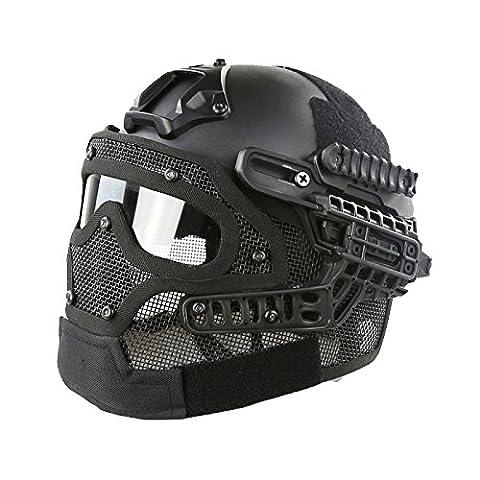 AIRSOFT Tactical MH Typ Fast Helm mit Stahl Maske und Schutzbrille G4SYSTEM schutzausrüstungen htuk®, schwarz