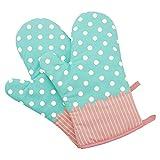 1 Paar Hitzebeständig Ofenhandschuhe Verdickte Hitzeresistente Topflappen Backhandschuhe aus Baumwolle und Polyester (Gepunktet Türkis)