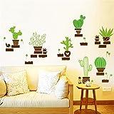 Wandtattoos WandbilderWohnzimmer Eingang grüne Pflanze Kaktus Topf abnehmbare Tapeten Schlafzimmer Schreibtisch Wandaufkleber Zeichnung Idee Aufkleber 60 * 40cm