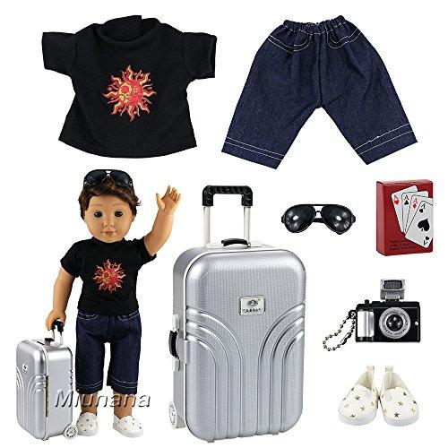 Miunana 6 Muñecas Fashion Accesorios con viaje : 1 Maleta + 1 Ropa + 1 jugar de cartas + 1 Cámara + 1 Gafas de sol para 18 pulgadas Meñeca 46 cm American Girl Doll