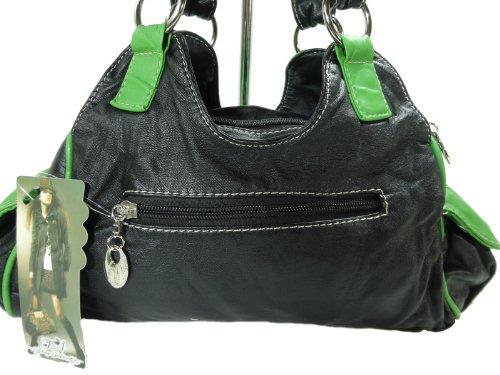 LISAN V&C H932-5 kleine mini Handtasche, Tasche in 7 Farben 26x18x10 Schwarz Grün