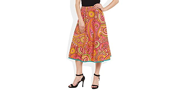 e516f3170f Very Me Women's Designer Pink Pure Cotton Printed Medium Length Skirt  Size:- L / L: Amazon.in: Clothing & Accessories