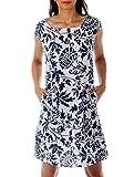 CHARIS MODA Leinen Kleid im Paisley-Design (XXL = 42, Weiß-Blau)