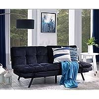 Mobilier Deco Canapé clic clac 3 Places Noir en Tissu Couchage 2 Personnes Memory Form