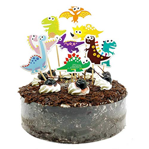 Dinosaurier-Kuchen-Deckel-Alles Gute zum Geburtstag Partei-Dekorationen für Kuchen Flag-Babyparty ()