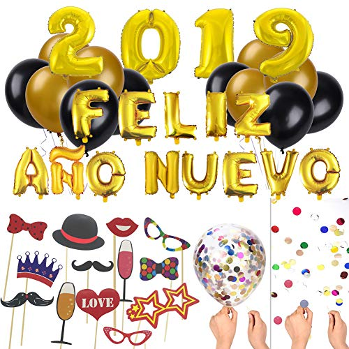 Decoracion Nochevieja Fin de Año2019 Globo Feliz Año Nuevo + Globo Gigante con Confeti + Accesorios de Fotomaton+ Globo Grande 2019 + Globo de látex Negro y Oro