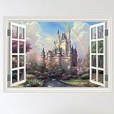 Full Colour Fairy Castle Mystical Window Scene Wall Sticker Decal Wall Art Girls Room (W70xH49cm)