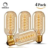 Starry Night T45 40W Vintage Antique Light Bulbs, Warm White, E26 Edison Tubular Style,Clear Glass,220-240 Volts, Filament Light Bulbs(4 Pack)