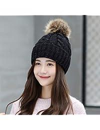 LIUXINDA-ZZM Sombrero Mujer Invierno Pelo Grande Bola Lana Sombrero otoño e  Invierno cálido Sombrero de Punto Protector de Oreja 383a45ac801