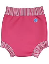 Splash About Happy Nappy, pannolino riutilizzabile per neonati e bambini, ideale per il nuoto, Reusable Swim Happy, Pink Candy Stripe, XXL 24+ Months