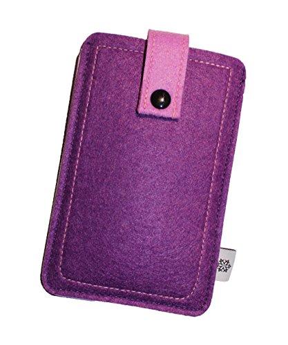 Filz-Tasche in Lila für Apple Iphone 6 und 6S mit Hülle, Hochwertige Handy-Hülle, Schutz-Cover mit Herausziehband und Drucknopf, reißfestes Schutz-Etui - M Dealbude24