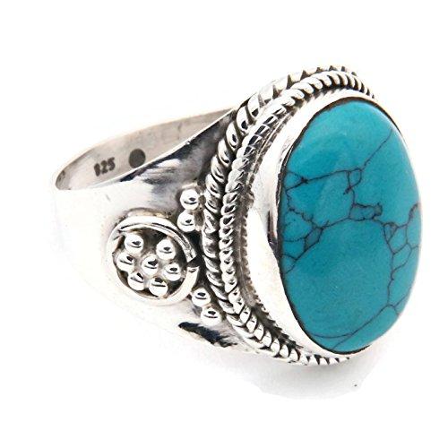 Ring Silber 925 Sterlingsilber Türkis blau grün Stein 1 (Nr: MRI 129), Ringgröße:60 mm/Ø 19.1 mm