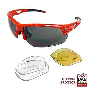 VeloChampion Tornado - Gafas de sol - Ciclismo Running (3 juegos de lentes intercambiables y funda) Rojo