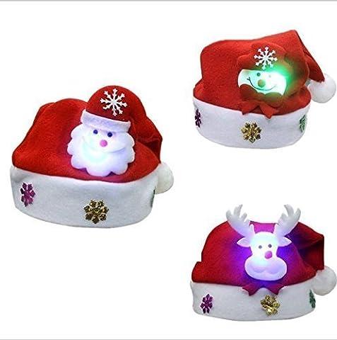 UChic 6 STÜCKE Glänzende Schöne Rote Weihnachten LED Glühende Hüte Weihnachtsmann Urlaub Tragen Partei Liefert Kinder Kleidung Zubehör