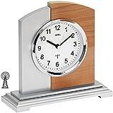 AMS 5146–Orologio da tavolo radiocontrollato, effetto faggio/Alluminio di applicazione su legno gomma