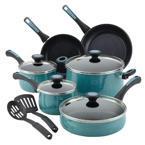 paula-deen-12-piece-riverbend-aluminum-nonstick-cookware-set-gulf-blue-speckle-by-paula-deen